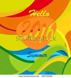 Hello Summer Rio 2016 Olympic Games Brazil banner. Rio de Janeiro abstract Olympic and Paralympic games poster. Summer Athletic competition. Sport Brazil Vector Illustration design, advertising.