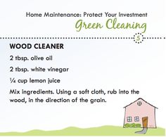 Green cleaning recipe for wood furniture