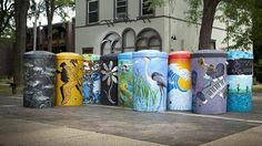 """Nine local artists and a stormwater management agency have proved that rain barrels can be functional and beautiful. """"Rain Barrels on Parade,"""" a project led by StormWorks and funded by American Eagle Outfitters Foundation"""