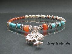 Tree of Life Bracelet, boho beaded natural stone bracelet, bohemian bracelet, Tibetan 27 Mala beads bracelet, Tree of Knowledge bracelet