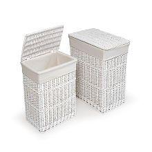 Badger Basket White Two Hamper Set with Liners
