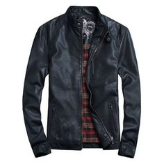 Men's Jackets Casual PU Leather Jacket, Black, Brown