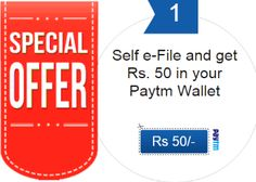 Aaykar e-File Income Tax Free 50 Paytm Cash Offer : Get 50 Free Paytm Cash on e-File Income Tax - Best Online Offer