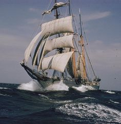 "The Belgian school ship ""Mercator"" by J. Baylor Roberts for National Geographic. Sailboats, Full Sail, Out To Sea, National Geographic, Wooden Ship, Tall Ships, Marina, Seafarer, Sailing Ships"