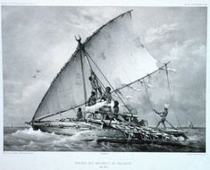 """Madagascar - An Austronesian outrigger canoe; Malagasy vahoaka """"people"""" is from Proto-Malayo-Polynesian *va-waka """"people of the canoe"""". The Vahoaka Ntaolo, the first Austronesian ancestors of the Malagasy, probably used similar canoes to reach the great island from the Sunda Islands. Image credit: Wikipedia"""