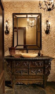 Hand Carved Furniture as a bathroom vanity.. always stunning