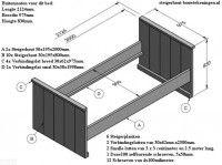 Bouwtekening voor een steigerhouten bed om zelf te maken. Met zaaglijst en onderdelen.