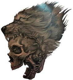 'Wolf Skull' Tattoo Design