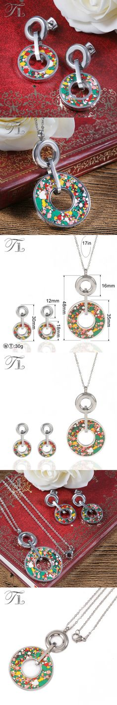 TL Stainless Steel Hollow Round Love Jewelry Set Silver Forest Color Design New Fashion Jewelry Set For Women Party Jewelry Set