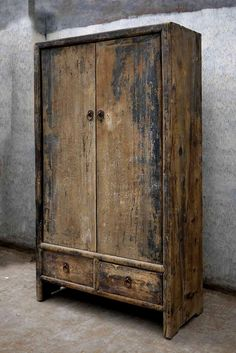Beautiful antiqued wood cabinet.