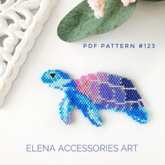 Sea turtle brooch necklace PDF pattern for miyuki delika brick stitch seed beads beading pattern Dimensions (inches): x Dimensinos (centimeters): x Colors: 12 You may choose to use different colors of beads. A PDF file includes - A bead legend (color and Beaded Earrings Patterns, Seed Bead Patterns, Beaded Brooch, Peyote Patterns, Beading Patterns, Bead Earrings, Bead Jewelry, Bracelet Patterns, Jewelry Box