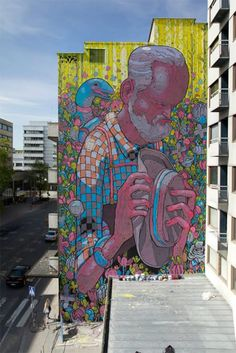 ARYZ ,street artist from Barcelona. His work can be found on abandoned walls on the outskirts of Barcelona as well as in New York, Germany, Poland, Italy, and Bosnia-Herzegovina.