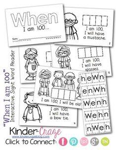 "Interactive Sight Word Reader ""WHEN I am 100"" for 100th Da"