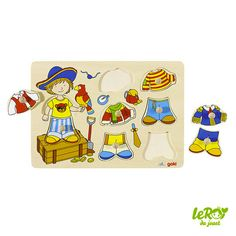 Puzzle à encastrement pirate à habiller 8 pièces en bois Leroy du jouet