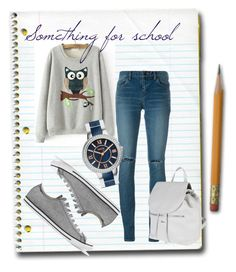 """""""Something for School"""" by rajtarov-natasa ❤ liked on Polyvore featuring Yves Saint Laurent, FOSSIL, Converse and Nardelli"""