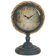 Showcasing a pedestal base and rope accent, this weathered table clock brings nautical charm to your entryway console table or living room credenza. Joss And Main, Nautical Clocks, Vintage Nautical Decor, Entryway Console Table, Desktop Clock, Stainless Steel Table, Pedestal Desk, Tabletop Clocks, Wood Clocks