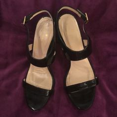 2a344ee00e9 Shop Women s kate spade Black size 8 Wedges at a discounted price at  Poshmark. Description  Black patent leather with cream and black stripes on  the wedge ...