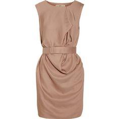 Halston Heritage Belted Draped Crepe Dress - LoLoBu