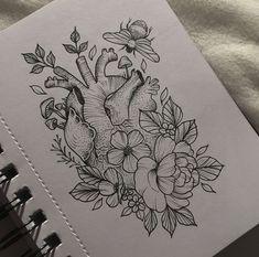 Anatomical Heart & Flowers Tattoo by Medusa Lou Tattoo Artist - medusaloux@outlook.com