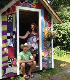 """""""Yarnbombed"""" Poets Shack - includes poems, in the form of QR codes, within the fabric.  Being auctioned to raise funds for a Bennington chef, educator and teacher undergoing treatment for lymphoma."""