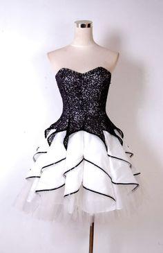 Black Glitter Short Party Dress with Black Trim