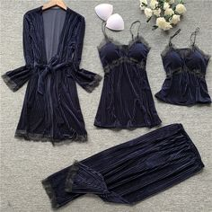 Gold velvet 4 pieces pajamas women sleepwear warm winter pajamas sets sexy lace robe loungewear with chest pad home service Sleepwear Women, Pajamas Women, Elegant Woman, Nightwear, Pajama Set, Lounge Wear, Clothes For Women, Long Sleeve, Sexy