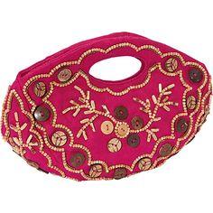 #FabricHandbags, #Handbags - Moyna Handbags Round Flap Clutch Fush/Wood - Moyna Handbags Fabric Handbags