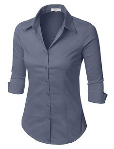1a551d60c1d78 LE3NO Womens Plus Size Easy Care Work Office Formal Button Down Shirt with  Stretch Purple Outfits