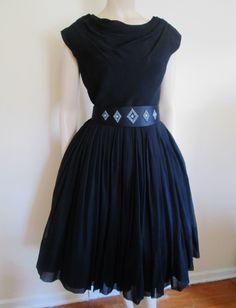 Black Swing Dress Vintage 1950s Miss Elliette Chiffon Beaded Belt