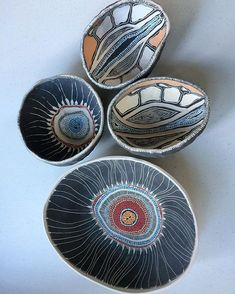 Ceramic pieces by Penny Evans awaiting firing