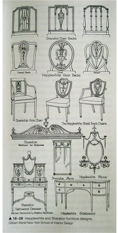 Hepplewhite and Sheraton Furniture examples of Georgian period