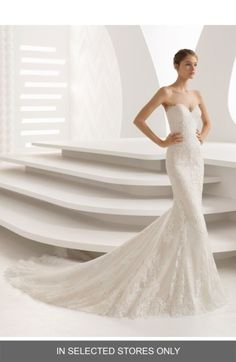 Free shipping and returns on Rosa Clara Abril Strapless Sweetheart Lace Mermaid Gown at Nordstrom.com. This wedding gown can't be purchased online but is available for special order in our in-store Wedding Suites. Special orders ship within 8–16 weeks. Please call 1.888.300.1295 to find a Wedding Suite near you or Book an appointment online.Two layers of dreamy lace bring entrancing dimension to the flared mermaid silhouette and trailing skirt of this strapless gown with whispers of eyela...