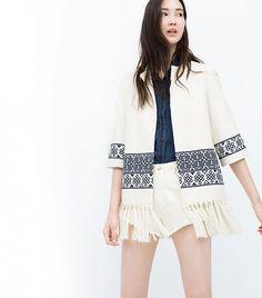 Zara Embroidered Kimono ($100) in Ecru