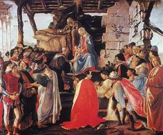 Adoration of the baby Jesus by the Magi by Botticelli