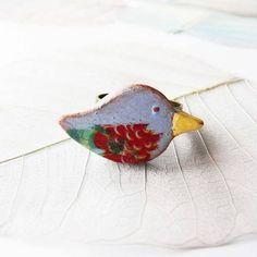 """Bague céramique """"oiseau bohême"""", création artisanale, pièce unique fait main"""