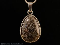 Fossil Coral Pendant in Argentium Silver by sumtoo on Etsy, $145.00