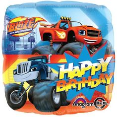 """Included in this bouquet: 7Balloons Total 1 – 18"""" """"Happy Birthday"""" Blaze & the Monster Machines SquareBalloon 1– 18"""" RedStarBalloon 5- 12"""" Mixed Latex"""