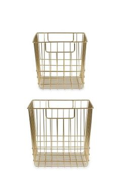 Set Of 2 Brass Effect Baskets
