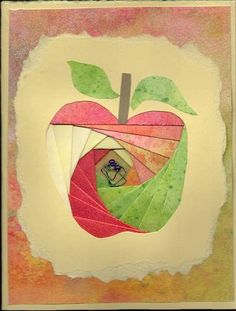 Iris fold apple w/ wire worm by ninarose - Cards and Paper Crafts at Splitcoaststampers Iris Folding Templates, Iris Paper Folding, Paper Folding Crafts, Iris Folding Pattern, Origami Folding, Paper Cards, Folded Cards, Teacher Cards, Irish Art