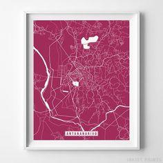 Antananarivo Madagascar City Street Map Wall Art Home Decor Poster Urban City Hometown Road Print - 70 Color Choices - Unframed Map Wall Art, Wall Art Prints, Dorm Walls, Star Wars Prints, Office Wall Art, City Maps, Watercolor Print, Click Photo, City Road