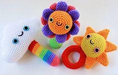 The three cutest amigurumi rattles ever! by Roxycraft Crochet Baby Toys, Crochet Toys Patterns, Amigurumi Patterns, Stuffed Toys Patterns, Crochet Animals, Crochet Dolls, Baby Patterns, Crochet Cross, Cute Crochet