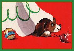 Vintage Christmas illustration - curious Beagle puppy