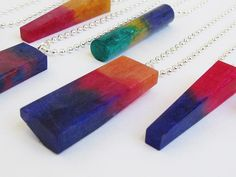 rainbow resin pendants detail