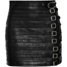 Gucci Buckle-embellished textured-leather mini skirt (€2.200) ❤ liked on Polyvore featuring skirts and mini skirts
