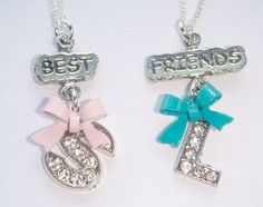 Best Friends Necklaces - Personalized Jewelry - Initial Necklace - Set of Necklaces - Bow Charms - Forever Friends Jewellery - Friendship by BellaAniela on Etsy https://www.etsy.com/listing/181311438/best-friends-necklaces-personalized