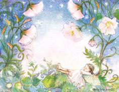 Sleeping Fairy Set of 5 postcards ~ darker hair version