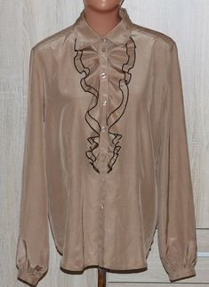 4630389b80820a BASLER Anniversary Edition Silk Cotton Camel Blouse with Ruffle Size M/L # Basler #. Camel BlousesRuffles