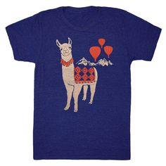 878b7a20d Llama - Unisex Mens T-Shirt Mountains Nature Track Tee Shirt Folk Cute Peru  Folkloric Alpaca Animal Red Hot Air Balloon Blue Indigo Tshirt