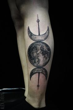 Girl Back Amazing And Nice Pagan Half Moon Tattoo