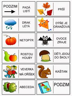 podzim - domino Month Weather, Autumn Activities For Kids, Preschool Themes, Pictogram, Primary School, Four Seasons, Art School, Montessori, Homeschool